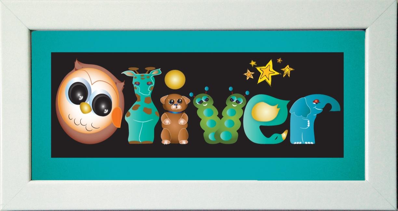 Framed image of letters spelling Oliver